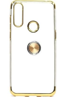 Tbkcase Alcatel 3X 2019 Kılıf Lüks Lazer Yüzüklü Silikon Gold + Nano Ekran Koruyucu