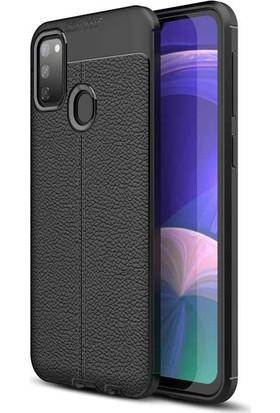 BizimGross Samsung Galaxy M30S Deri Görünümlü Telefon Kılıfı Siyah