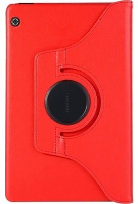 Essleena Huawei T5 360 Derece Dönebilen Tabet Kılıfı Kırmızı