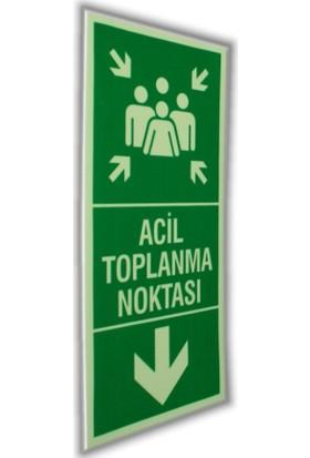 PassPano Pvc Fosforlu Sticker ACİL TOPLANMA NOKTASI 11,5 x 25 cm