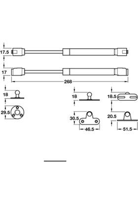 Hafele Gazlı PistonKapak Amörtisörü 150 Newton 15 kg