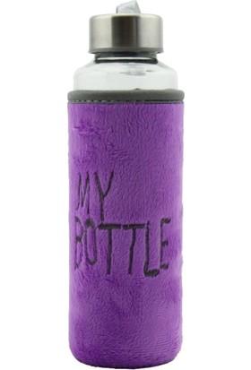 My Bottle Flok/Kadife Kılıflı Cam Matara - Su Şişesi