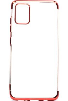 Tekno Grup Samsung Galaxy A51 Kılıf Dört Köşe Renkli Şeffaf Lazer Silikon - Kırmızı