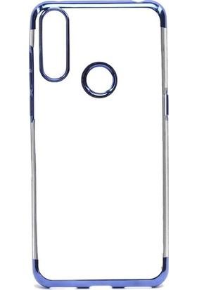 Tekno Grup Alcatel 3x 2019 Kılıf Dört Köşe Renkli Şeffaf Lazer Silikon - Mavi + Nano Ekran Koruyucu