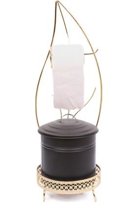 2Adam1Dekor Çöp Kovalı Tuvalet Kağıtlık Ferforje Yaprak Şekilli Gold
