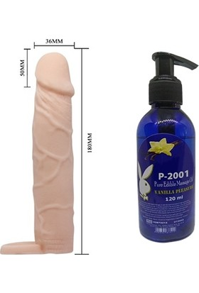 P-2001 Belden Bağlamalı Kemerli Ayarlı Içi Dolu Penis + Çikolata Aromalı Jel Masaj Yağı
