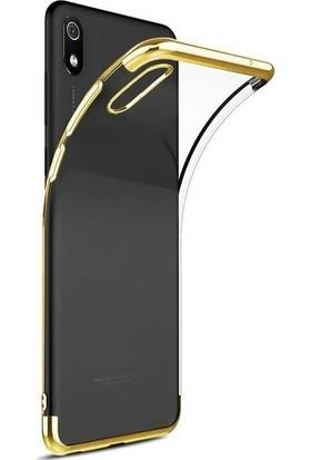 Tekno Grup Xiaomi Redmi 7A Kılıf Dört Köşe Renkli Şeffaf Lazer Silikon - Gold