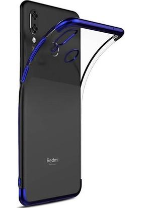 Tekno Grup Xiaomi Mi 9 Lite Kılıf Dört Köşe Renkli Şeffaf Lazer Silikon - Mavi + Cam Ekran Koruyucu