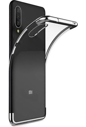 Tekno Grup Xiaomi Mi 9 Kılıf Dört Köşe Renkli Şeffaf Lazer Silikon - Gümüş + Nano Ekran Koruyucu