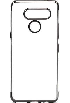 Tekno Grup LG K50s Kılıf Dört Köşe Renkli Şeffaf Lazer Silikon - Gümüş + Nano Ekran Koruyucu