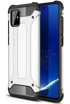 Teleplus Samsung Galaxy A91 Kılıf Armor Tank Kapak Gümüş + Nano Ekran Koruyucu
