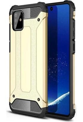 Teleplus Samsung Galaxy A91 Kılıf Armor Tank Kapak Gold + Tam Kapatan Ekran Koruyucu