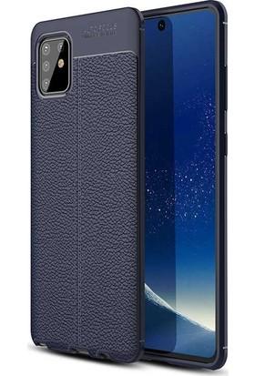 Teleplus Samsung Galaxy A91 Kılıf Deri Dokulu Silikon Lacivert + Tam Kapatan Ekran Koruyucu