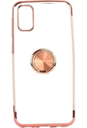 Teleplus Samsung Galaxy A91 Kılıf Lüks Lazer Yüzüklü Silikon Rose Gold