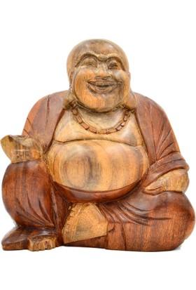 Miamantra Ahşap El Yapımı Gülen Buda