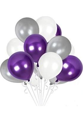 Layda Süs 30 Adet Mor Gri Beyaz Metalik Balon 12 Inç