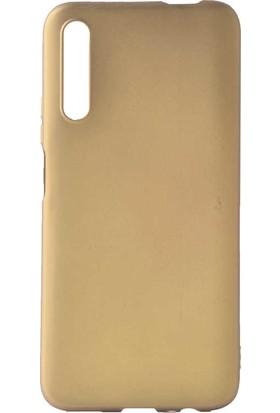 Tekno Grup Huawei P Smart Pro 2019 Kılıf Mat Premium Silikon Kılıf + Cam Ekran Koruyucu Gold