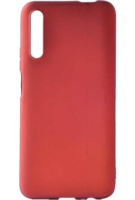 Tekno Grup Huawei P Smart Pro 2019 Kılıf Mat Premium Silikon Kılıf + Cam Ekran Koruyucu Kırmızı