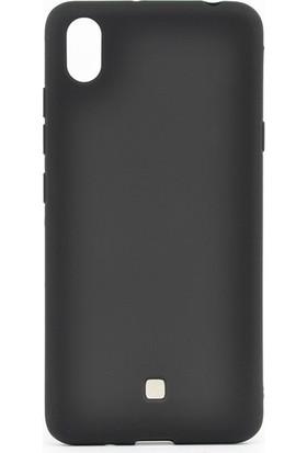 Tekno Grup LG K20 2019 Kılıf Mat Premium Silikon Kılıf + Cam Ekran Koruyucu Siyah