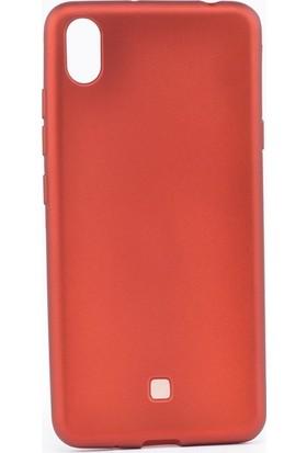 Tekno Grup LG K20 2019 Kılıf Mat Premium Silikon Kılıf + Nano Ekran Koruyucu Kırmızı