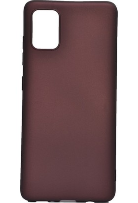 Tekno Grup Samsung Galaxy A81 (Note 10 Lite) Kılıf Mat Premium Silikon Kılıf + Nano Ekran Koruyucu Bordo