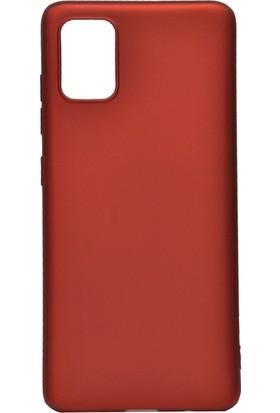 Tekno Grup Samsung Galaxy A81 (Note 10 Lite) Kılıf Mat Premium Silikon Kılıf + Nano Ekran Koruyucu Kırmızı