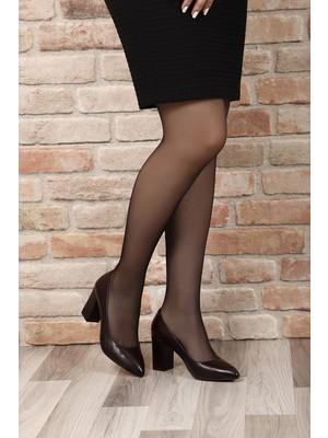 Gönderi® Hakiki Deri Sivri Burun Kalın Yüksek Topuklu Stiletto Kadın Ayakkabı 14007