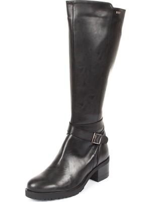 Gönderi® Yuvarlak Burun Kauçuk Taban Topuklu Fermuarlı Tokalı Kadın Günlük Çizme 20575