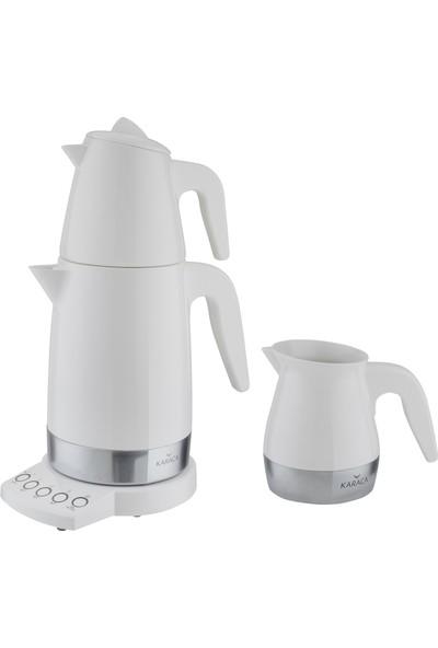 Karaca Allure Seramik Çay Kahve Makinesi Beyaz