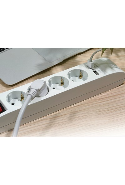 S-Link Swapp SPG4-X-4 1.5m Kablolu 5 li Akım Korumalı+2 USB Hızlı Şarjlı Grup Priz