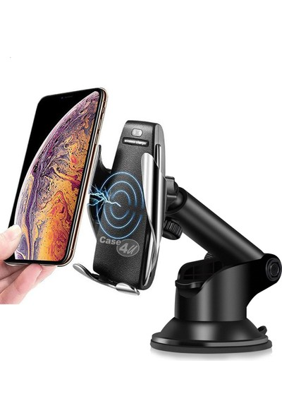 Case 4u Kablosuz Şarjlı Uzun Kollu Araç İçi Telefon Tutucu - Tüm Cihazlarlar Uyumlu 10W Kablosuz Şarj