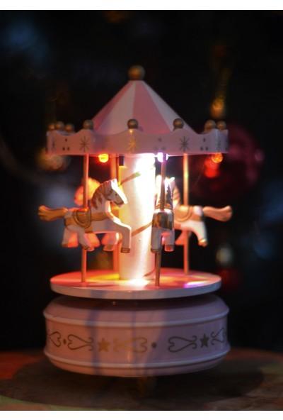 Gökçe Işıklı Nostaljik Atlı Karınca Müzik Kutusu Pembe Beyaz