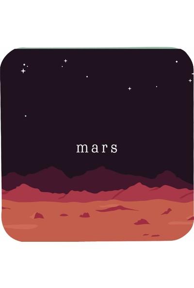 Sihirli Semboller Uzay Temalı Mars Bardak Altlığı