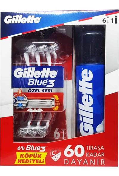 Gillette Blue3 Tıraş Makinesi 6'lı + Gillette Normal Köpük Özel Seri