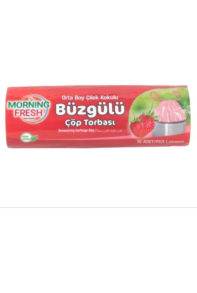 Morning Fresh Çilek Kokulu Orta Boy Büzgülü Çöp Poşeti 10'lu x 10 Rulo