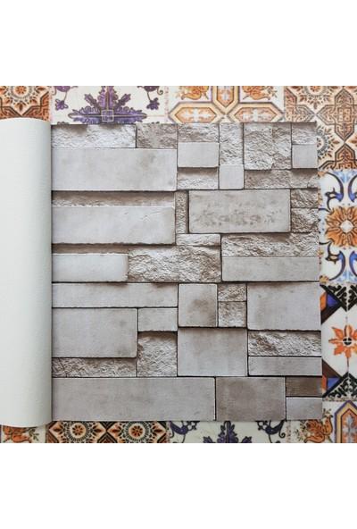 Golden Taş Desenli 3 Boyutlu 13252 Duvar Kağıdı (5m²) - Tutkal Hediyeli