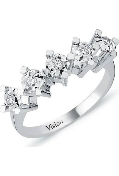 Vision Pırlanta Pırlanta 5 Taş Yüzük 1.50 Karat Efektli