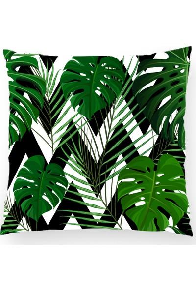 Bk Home Dekor Zikzag Zemin Üzerine Yeşil Yaprak Desen Kırlent Kılıfı