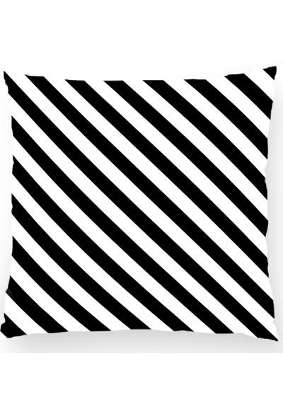 Bk Home Dekor Dekoratif Siyah Beyaz Çizgili Kırlent Kılıfı