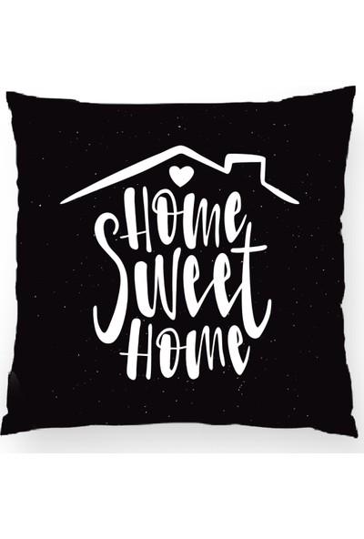 Bk Home Dekor Dekoratif Siyah Beyaz Home Sweet Yastık Kılıfı