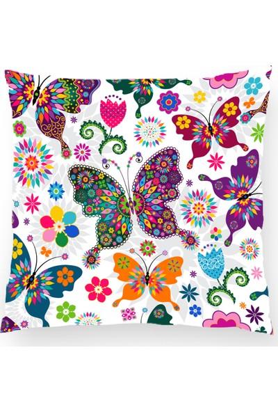 Bk Home Dekor Dekoratif Çoklu Kelebek Desen Yastık Kılıfı