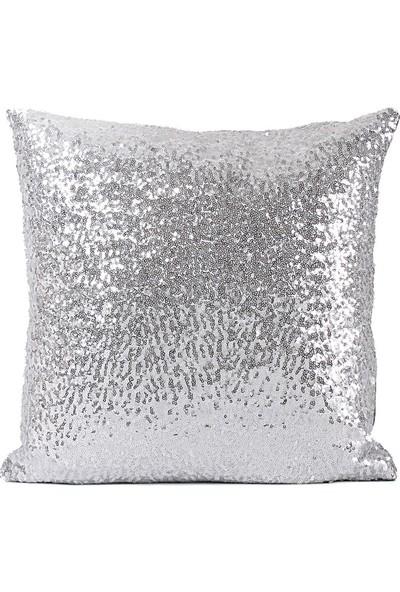 Bk Home Dekor Silver Gümüş Pullu Payetli Yastık Kırlent Kılıfı