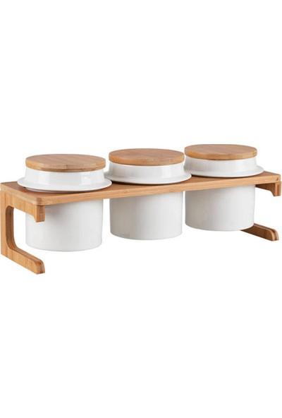 Biev Sasha 3'lü Stantlı Yuvarlak Baharatlık Seti - Porselen & Bambu
