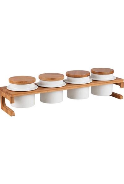 Biev Sasha 4'lü Stantlı Yuvarlak Baharatlık Seti - Porselen & Bambu