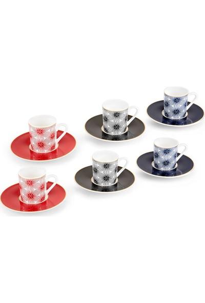 Bernardo 3 Renkli 6'lı Kahve Fincan Takımı