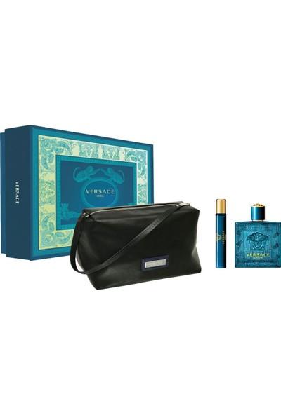 Versace Eros Erkek Parfüm Set (Edt 100 + Edt 10 + Çanta)