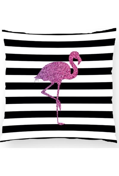 Bk Home Dekor Modern Mor Flamingo Desen Kırlent Kılıfı