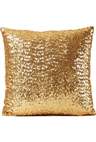 Bk Home Dekor Gold Altın Pullu Payetli Yastık Kırlent Kılıfı