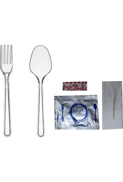 Plastik Çatal+Kaşık Lüx Set (Yemek Seti) 200'lü
