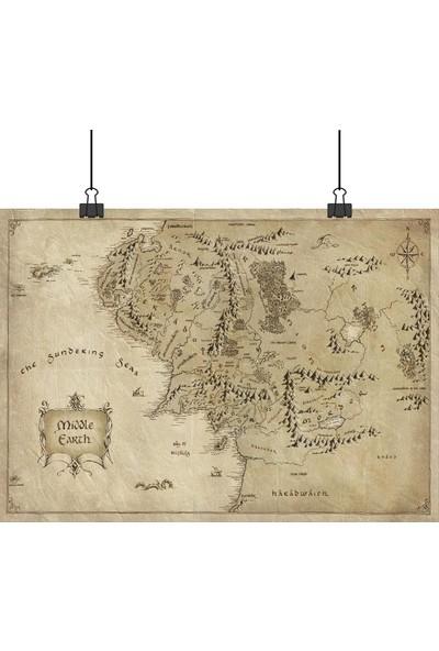 Lord Of The Rings Lotr Yüzüklerin Efendisi Middle Earth World Map Orta Dünya Haritası 70 x 100 cm Posteri